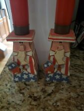 4th of July Uncle Sam candle sticks very cute brand new never use wooden excelle