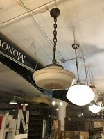 Antique Rewired Schoolhouse Ceiling Light with Decorative Globe