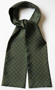 "Silk, slim, skinny cravat in green & blue millefiori 60"" X 2.5"" Hand made"