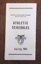 Spring 1962 Pocket Athletic Schedule U.S. Military Academy West Point NY Army