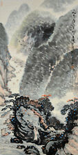 Vintage Chinese Watercolor Wall Hanging Scroll Painting after Guan Shanyue