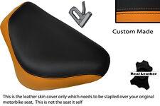 BLACK & ORANGE CUSTOM FITS YAMAHA XVS 650 FRONT RIDER LEATHER SEAT COVER