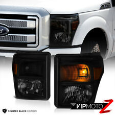 [SINISTER BLACK] 2011-2016 Ford SuperDuty SD F250 F350 F450 Smoke Headlights New