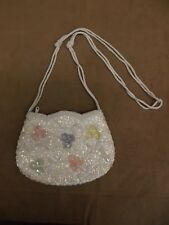 Vtg Fancy White Iridescent Sequin Glass Beaded Pastel Flowers Shoulder Bag Purse