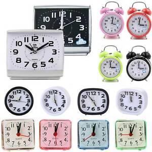 Alarm Clock Quiet Night Glow Light No Tick Quartz Bedside Travel Snooze Clocks