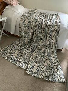 Fully Lined Navy Cream Beige Jacquard Print Curtains Bespoke Made