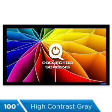 QualGear 100 Inch Fixed Frame Projector Screen, High Contrast Gray, 0.9 Gain