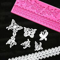 Lace Butterfly Silicone Fondant Lace Mould Cake Decor Mat Sugarcraft Mold B S5L5