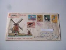 Netherlands registered mail - Culemborg, 1961.  Windmills w/ birds semi-postals.