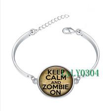 Keep Calm and Zombie On glass cabochon Tibet silver bangle bracelets wholesale