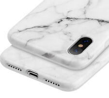 for Apple iPhone X - Hard TPU Gummy Rubber Skin Case Cover White Marble Pattern