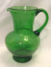 FOREST GREEN DEPRESSION GLASS WATER / ICED TEA PITCHER VINTAGE APPLIED HANDLE