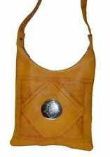 Moroccan Handbag Carved Leather Evening Shoulder Strap Bag iPad-Purse Yellow