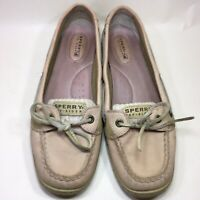 Sperry Top Sider Womens Boat Shoes Leather Pink Stripe Deck Dock Shoes sz 8.5M