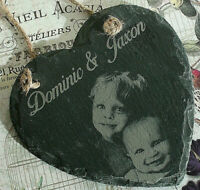 Mothers Day personalised Photo Engraved onto heart Slate large hanging plaque
