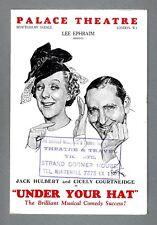 "Cicely Courtneidge ""UNDER YOUR HAT"" Jack Hulbert 1938 London Herald (Flyer)"