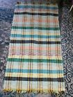 """VINTAGE Loomed Cotton homemade Rug-Multicolor-yellow-green-oran -28""""X52""""-Fringed"""