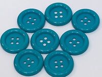 """8 Teal Blue Pass-Through Buttons Plastic 1.25"""" New no Label"""