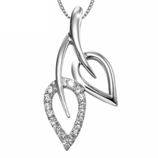 """Womens 925 Sterling Silver White Crystal Leaf Pendant Trendy Necklace 18"""" Chain"""