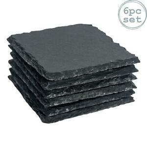 Square Slate Coasters Set Padded Feet Dining Wedding Dinner Coaster Mat x6
