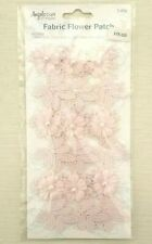 Rose Fabric Flower Leaf Pearl Embellishment Pink Embroidery Lace Trim Patch