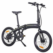 Folding Electric Bike Portable eBike Light Electric Assisted Bicycle USB Black