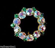 Vintage Aurora Borealis Crystal Green Diamante Wreath Goldtone Brooch c1950s
