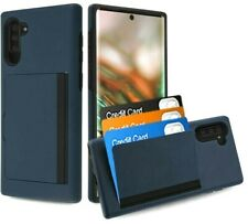 Samsung Galaxy Note 10 - Navy Blue Hybrid Credit Card Pocket Nonslip Case Cover