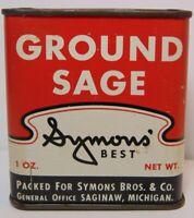 Old Vintage 1950s SYMONS SPICE TIN SAGINAW MICHIGAN SYMONS BROS. COFFEE COMPANY