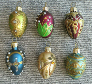 6 Vintage Smith and Hawken Egg-shaped Polish Hand-blown, -decorated Ornaments #2