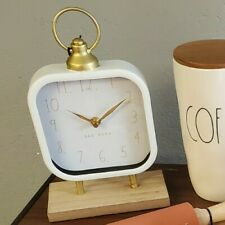 Rae Dunn Tabletop Clock White And Gold NEW
