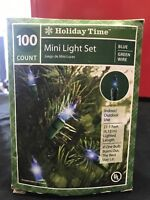 Holiday Time 100 Blue Christmas Holiday Mini Lights Green Wire Indoor Outdoor