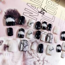 24Pcs Short Acrylic False French Nails Full Cover Finger Nail Art Tips Manicure