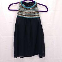 Zara Trafulac Beaded High Neck Top Size S Black Chiffon Sheer Boho