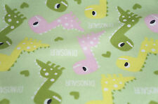 Dinosaur Flannel Fabric Melody by Mook Green  Cotton Children   BFab