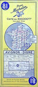 Ancienne carte Routière Michelin collector - 200 000é - AVIGNON-DIGNE