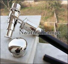 Vintage Chrome Brass Telescope Walking Cane Wooden Stick Folding Spyglass Handle