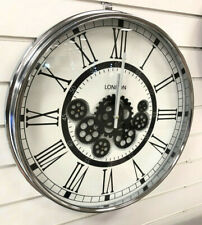 Chrome Silver White Black Round Mechanical Skeleton Gear Wall Clock Vintage NEW