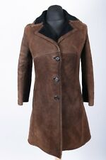 Real Sheepskin Vintage Shearling Coat | Womens 12 | Retro 60s Woolen