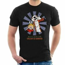 Calvin And Hobbes In Japanese Style Vintage Funny Cartoon Black T-Shirt S-6XL