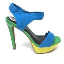 NEW Jessica Simpson Neon Colorblock Platform Open Toe Heels Size 6