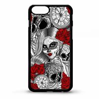Day of the dead sugar skull girl rose art rubber case cover for Iphone 6 6s plus