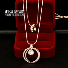 18k Rose Gold Zircon Double Circle Pendant Long Necklace 2 Layers Chain MY389