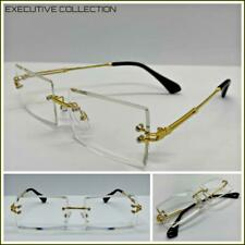 Mens Classy Sophisticated Contemporary Clear Lens EYE GLASSES Rimless Gold Frame