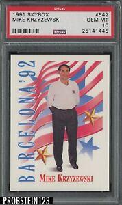 1991 Skybox Basketball #542 Mike Krzyzewski RC Rookie PSA 10 GEM MINT