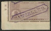 """India 1913 12a Court Fee """"Cancelled"""" SPECIMEN / MH / Toned Gum - S2224"""