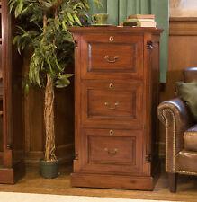 La Roque Premium Solid Mahogany Dark Wood Three Drawer Office Filing Cabinet