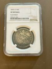 1845O Seated Liberty 50 cent / half dollar coin NGC Graded XF Details Cleaned