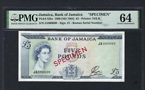 Jamaica 5 Pounds 1960(ND 1964) P52bs Specimen  Uncirculated Grade 64