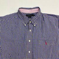 U.S. Polo Assn. Button Up Shirt Men's 2XL XXL Short Sleeve Blue Orange Gingham